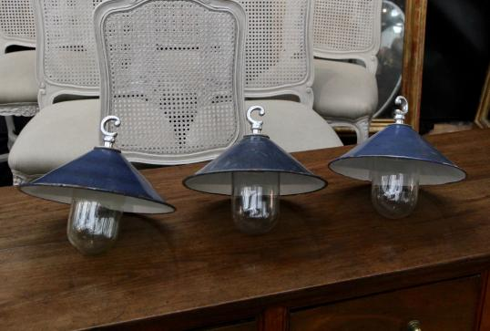 French Enamel Industrial Lights