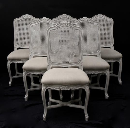 Louis XIV Style Cane Backed Dining Chairs