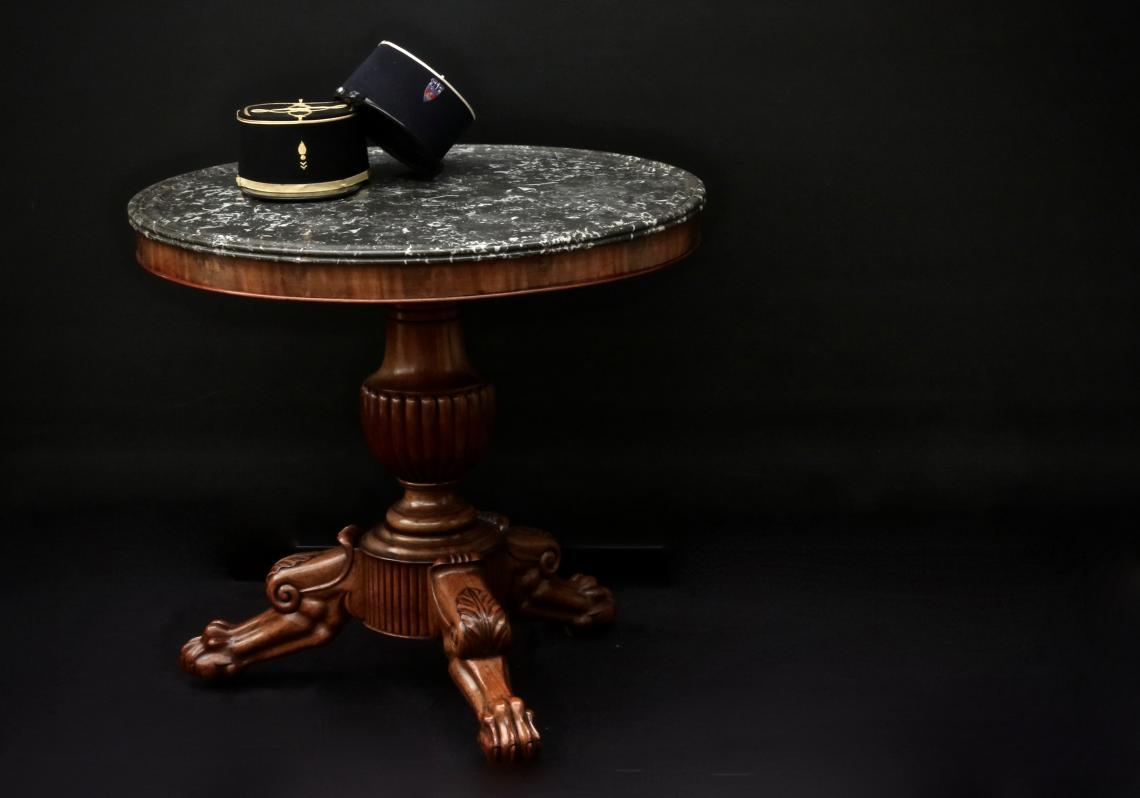 John Stephens Gueridon Table With Black Marble Top