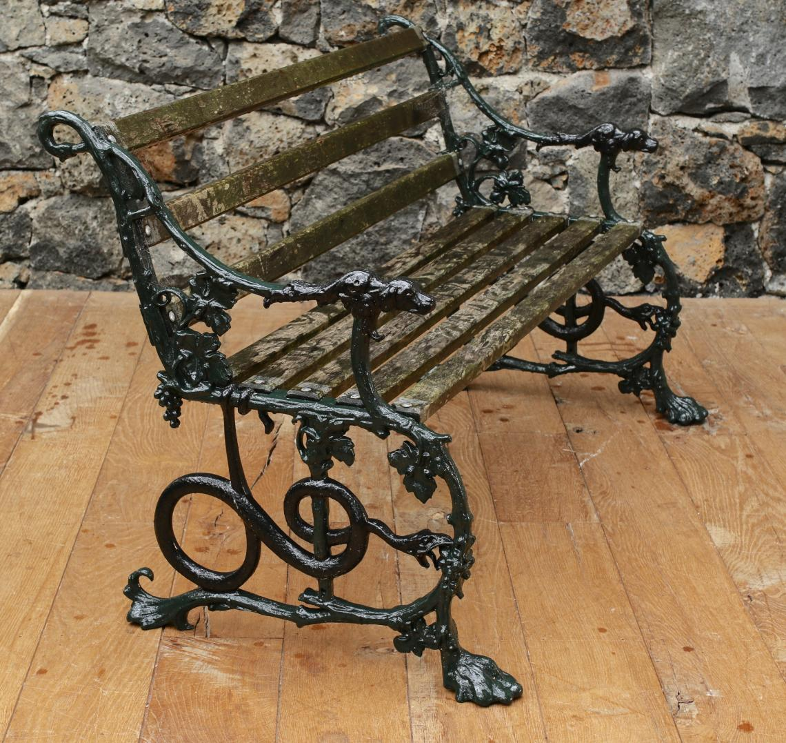 two Stunning English Cast Iron Coalbrookdale Benchs and Table