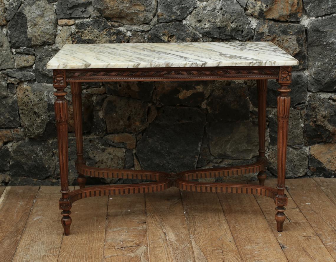 Marble Topped Louis XVI Walnut Console