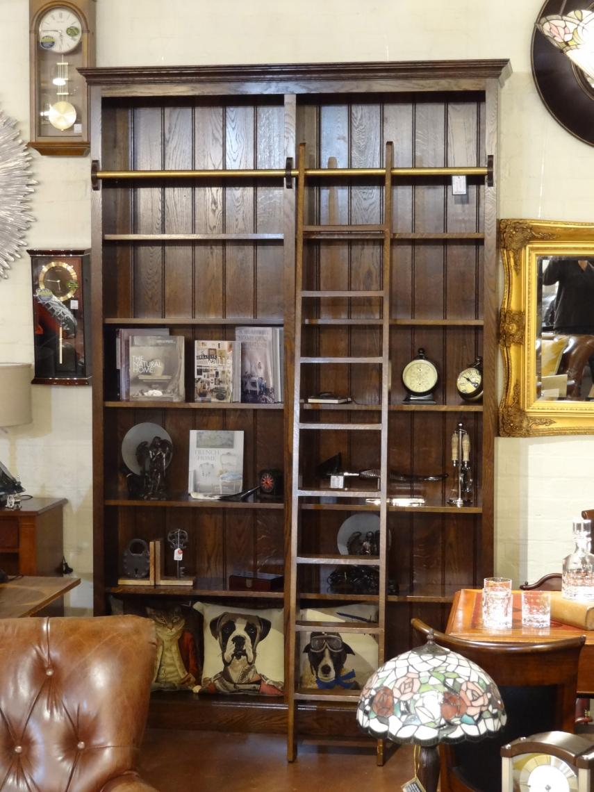 103-97 - Two Berth French Oak Bookcase with Ladder & Rail