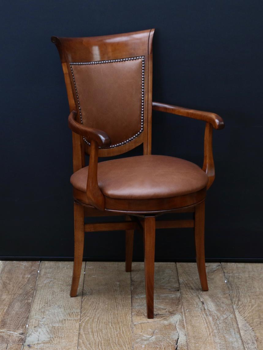 104-53 - French Cherrywood Directoire Style Swivel Seat Chair