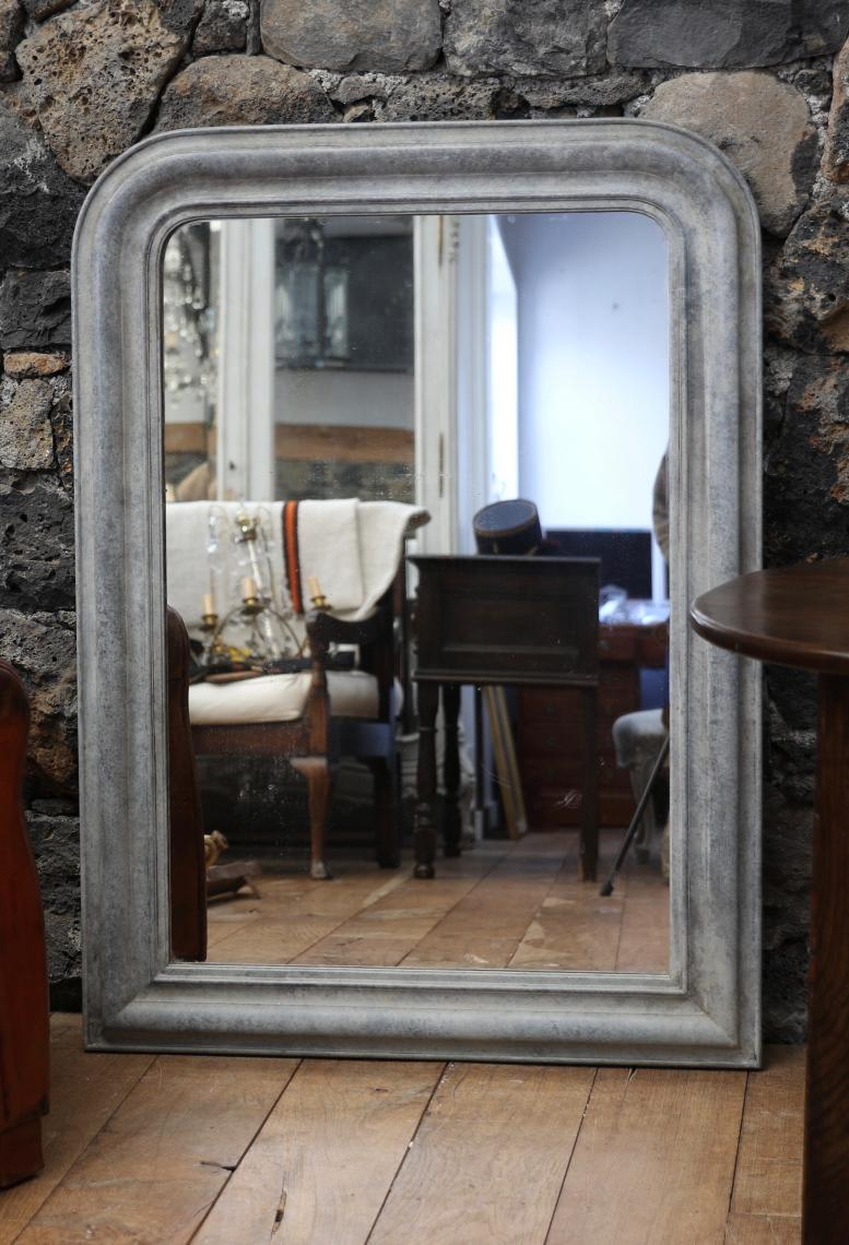 Louis Philippe Mirror in a Fantastic Zinc Finish