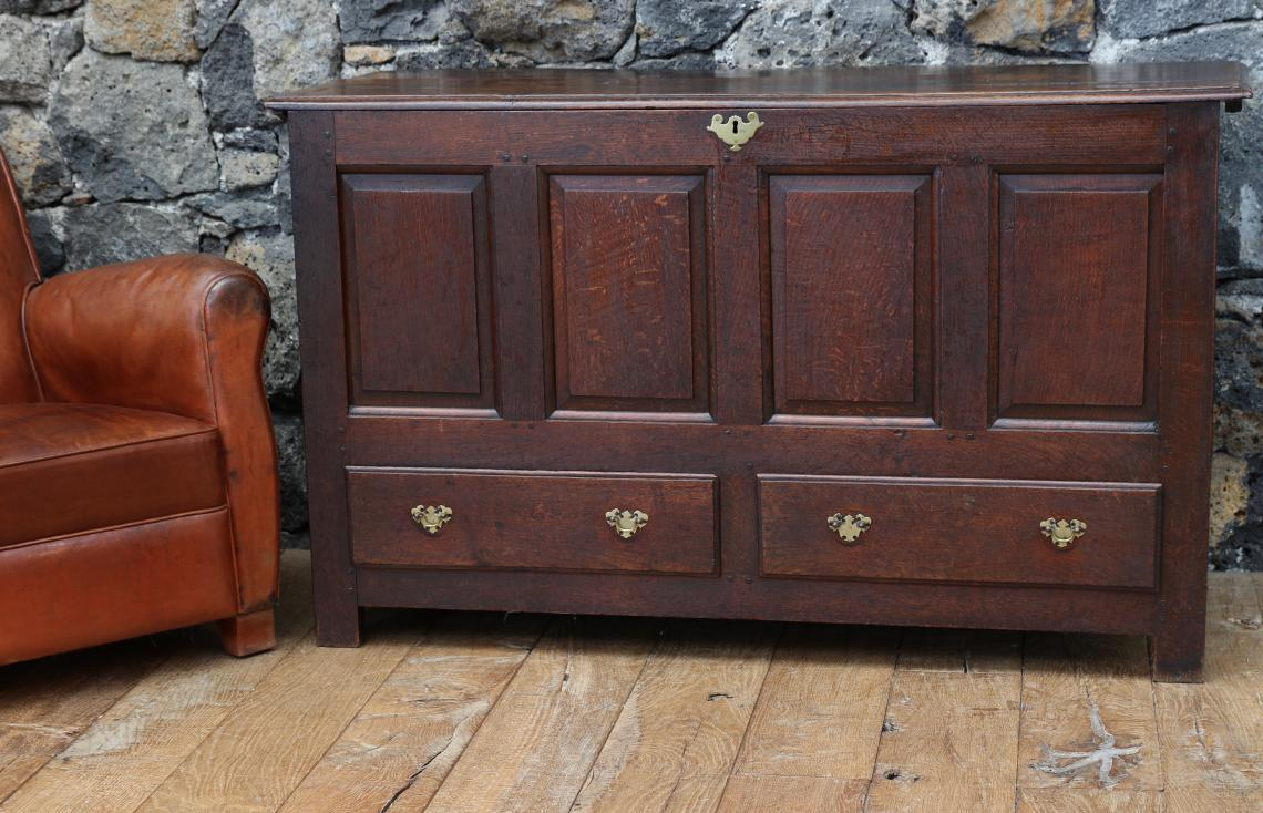 105-03 - English Oak Coffer or Large Mule Chest
