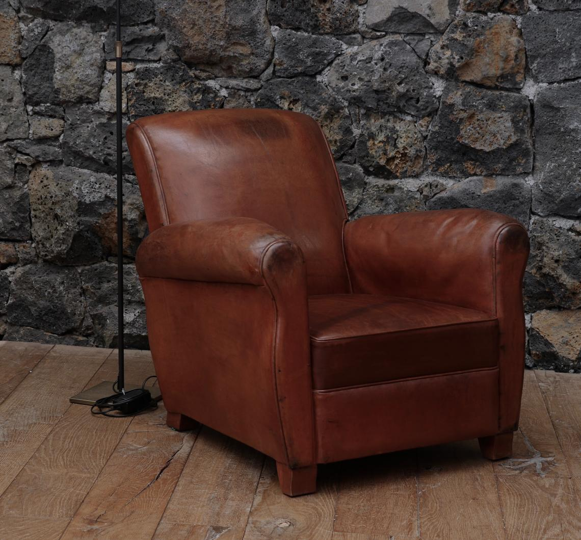A Single French Leather Chair - 1920s