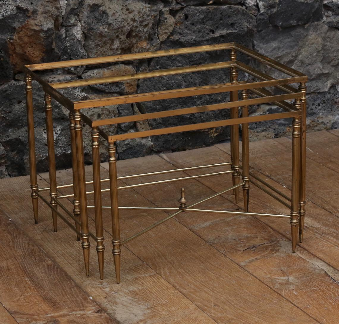 Nest of Brass Tables - French 1950