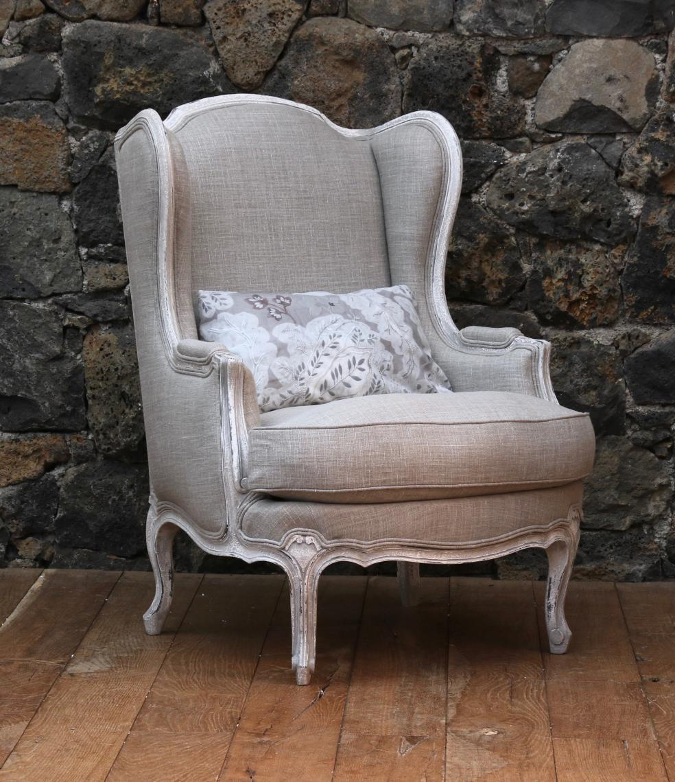 Louis XV Style French Wing Chair