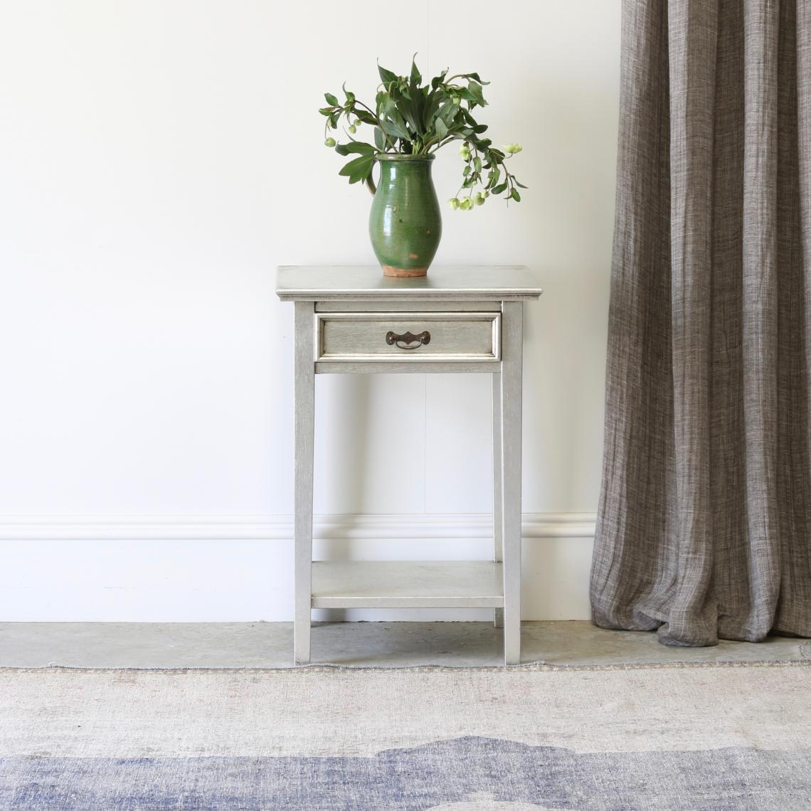 106-51 - Bedside Table with a zinc finish