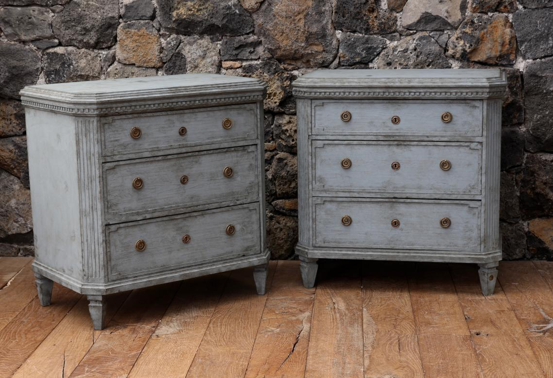 106-58 - Pair of Nordic Blue Gustavian Chests