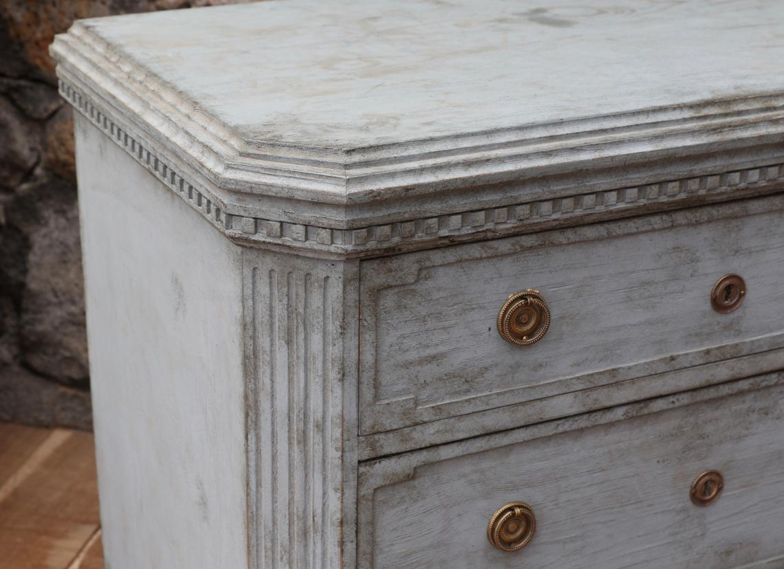 Pair of Nordic Blue Gustavian Chests