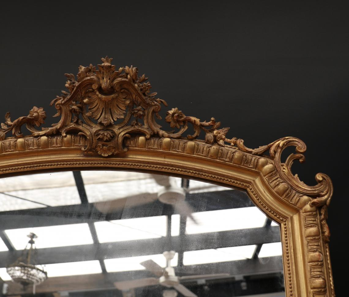 LARGE Louis XV Egg & Dart Crested Mirror