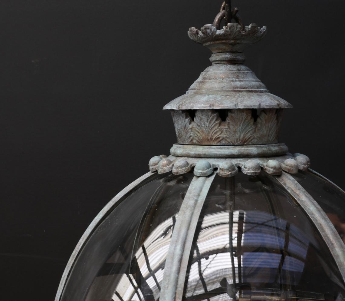 Globe Lantern - in verdigris finish