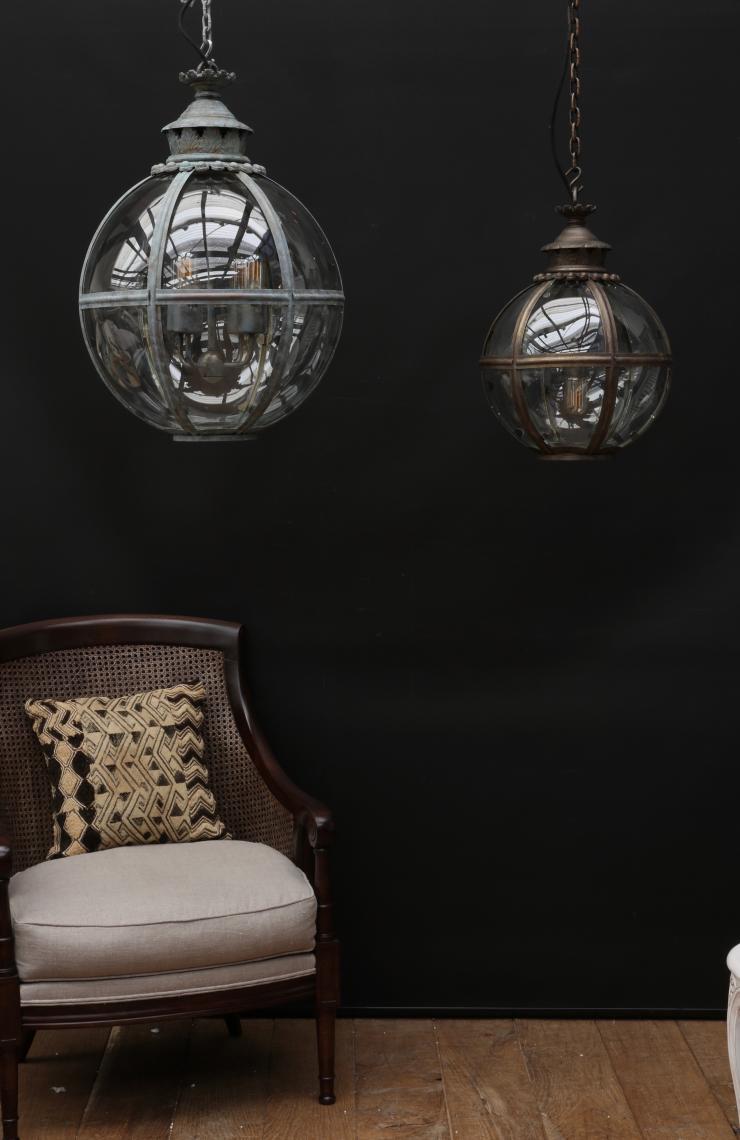 Small Globe Lantern - in a light bronze finish