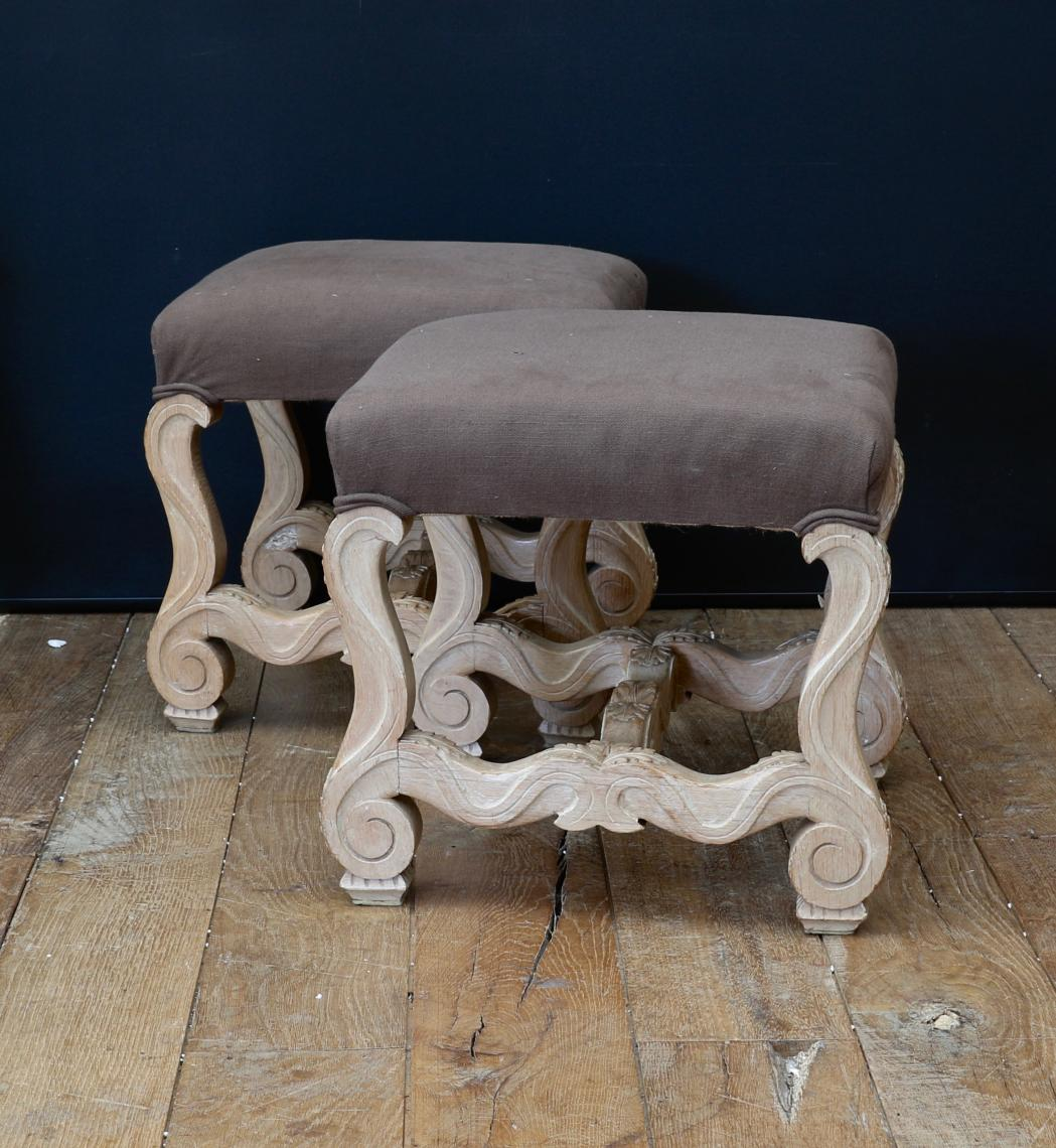 Pair of Bleached Louis XIV Style Footstools
