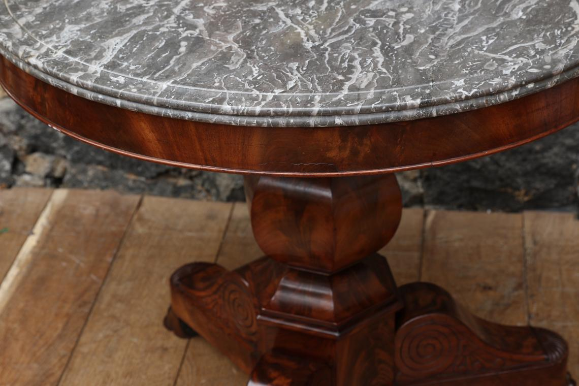 Gueridon Table with Black Fossil Stone Top