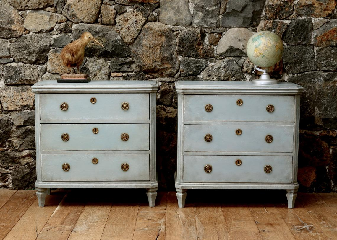107-93 - Pair of Nordic Blue Gustavian Chests