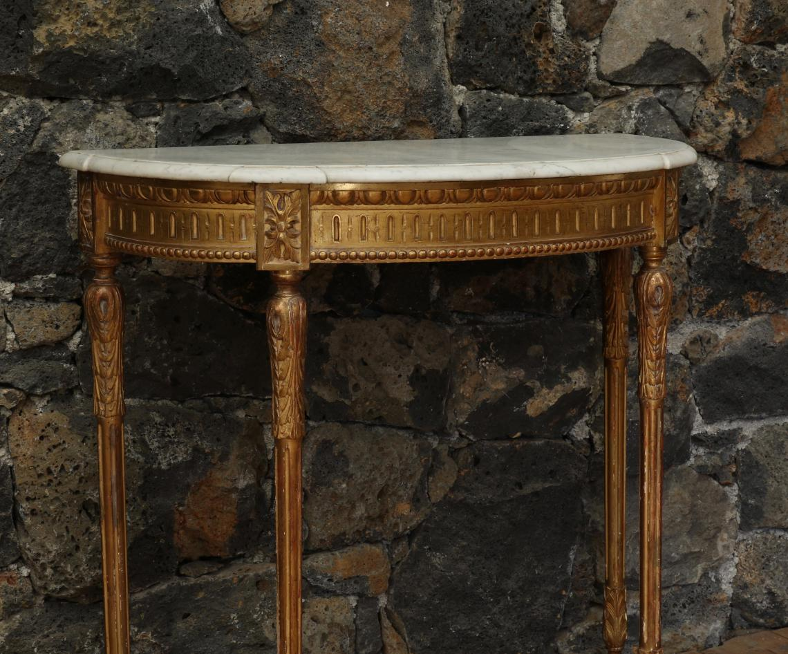 Large Gilt Console with Carrara Marble Top