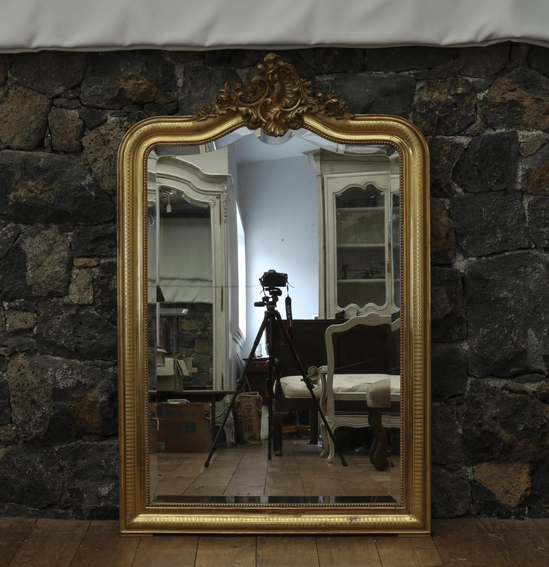 French Water-Gilded Louis Philippe Mirror