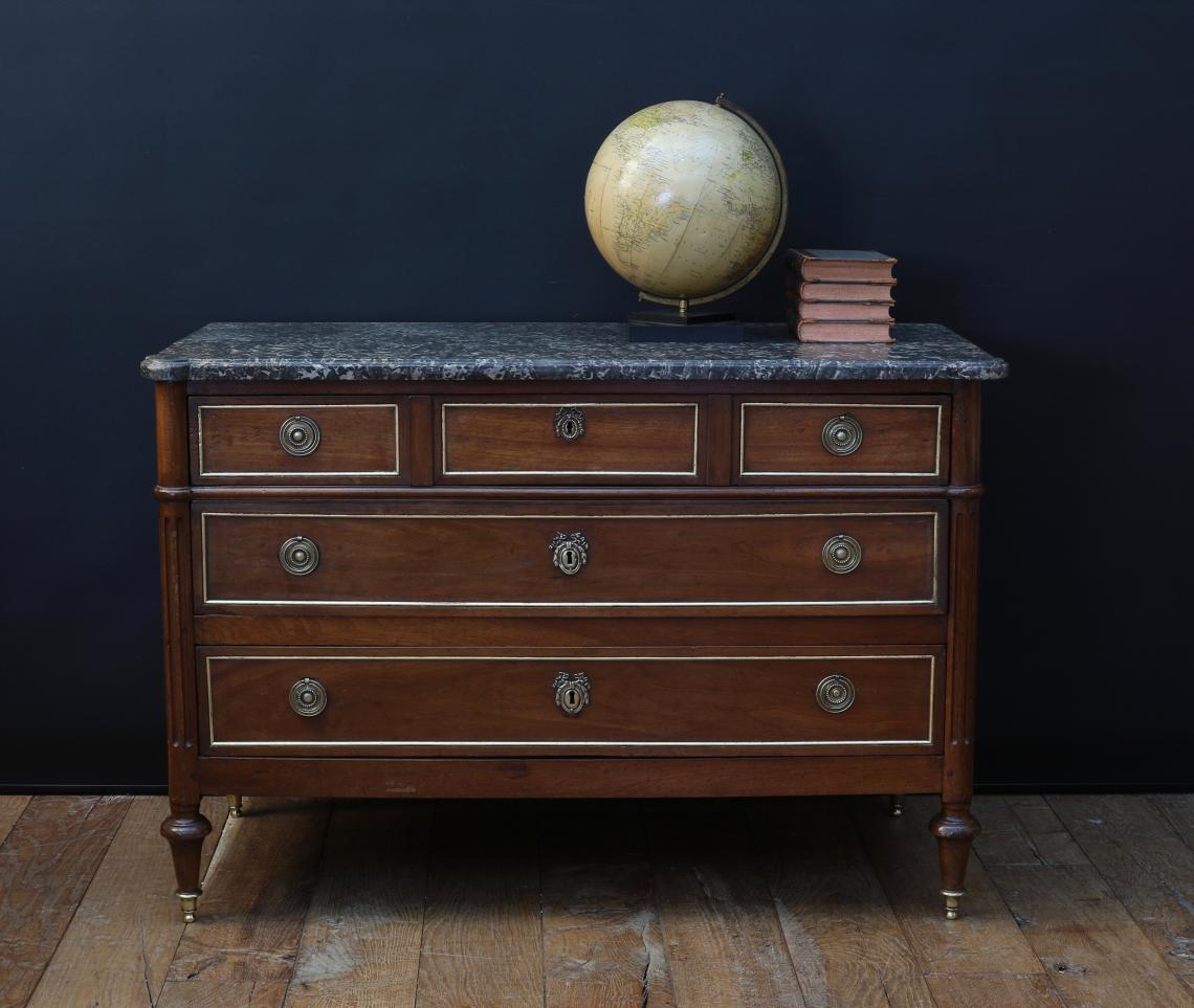 108-93 - French Directoire Commode with Gilded Drawer Mouldings