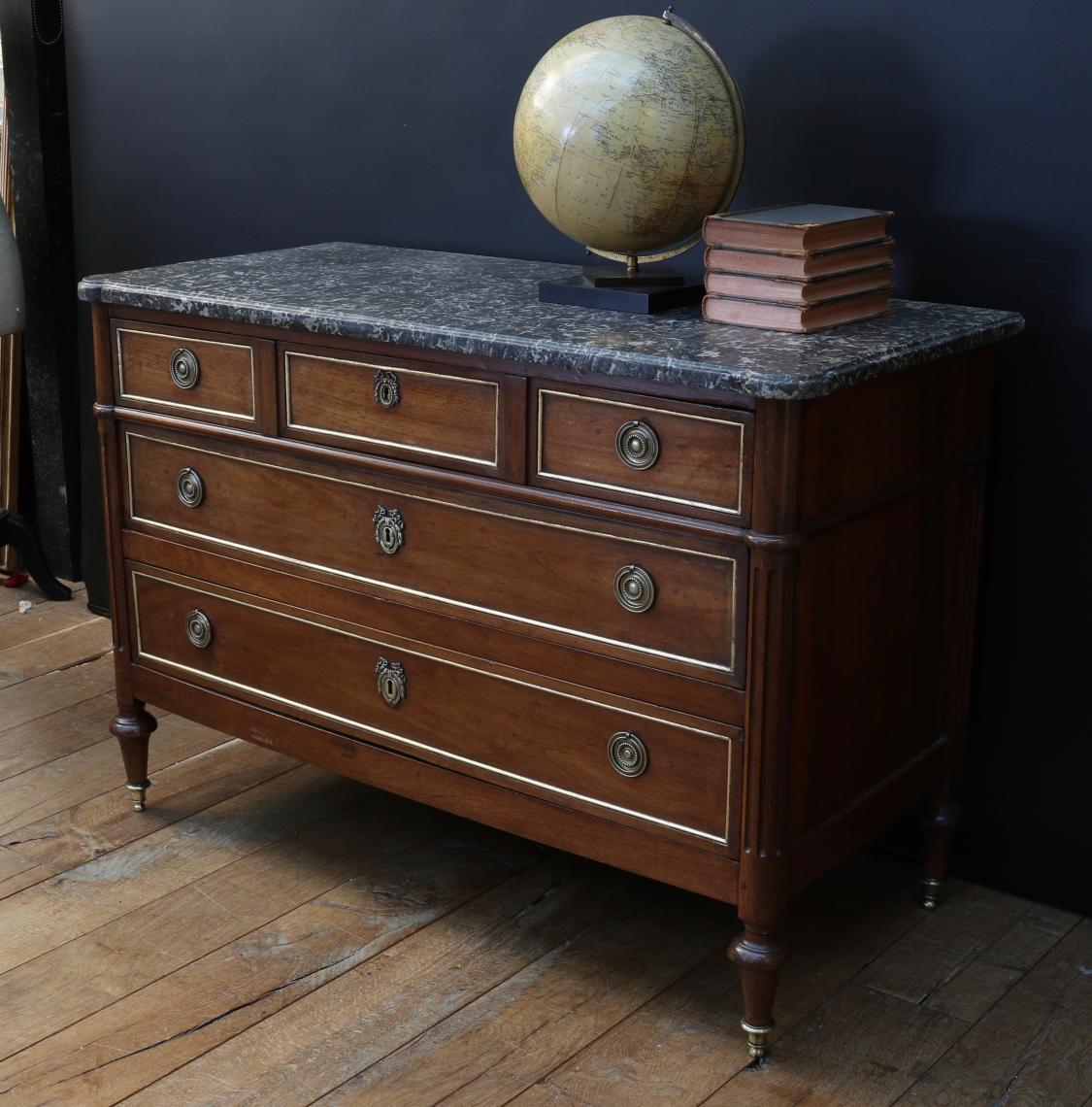 French Directoire Commode with Gilded Drawer Mouldings