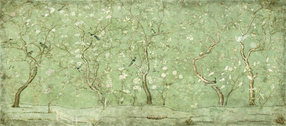 Emerald Chinoiserie Garden Wallpaper