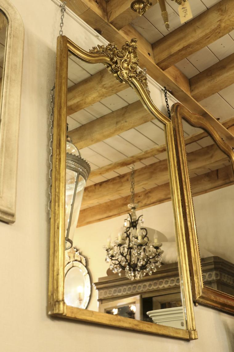 Gendarme-Topped French Gilt Crested Mirror