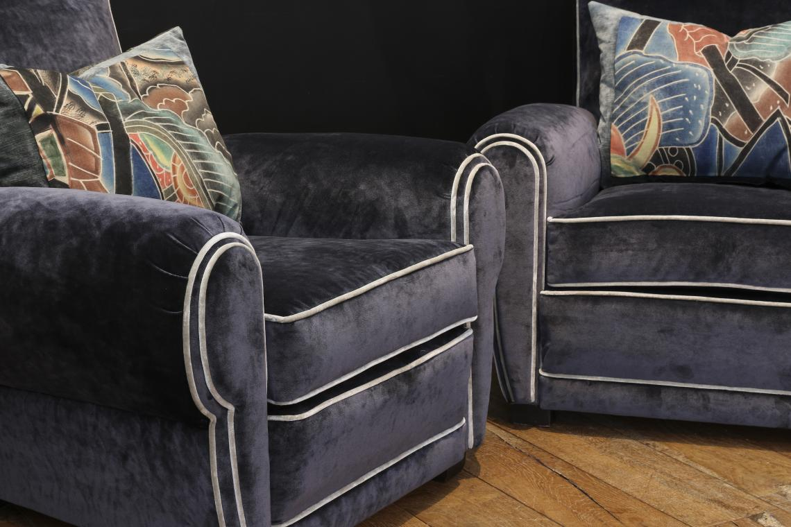A Pair of Blue 1920s French Club Chairs
