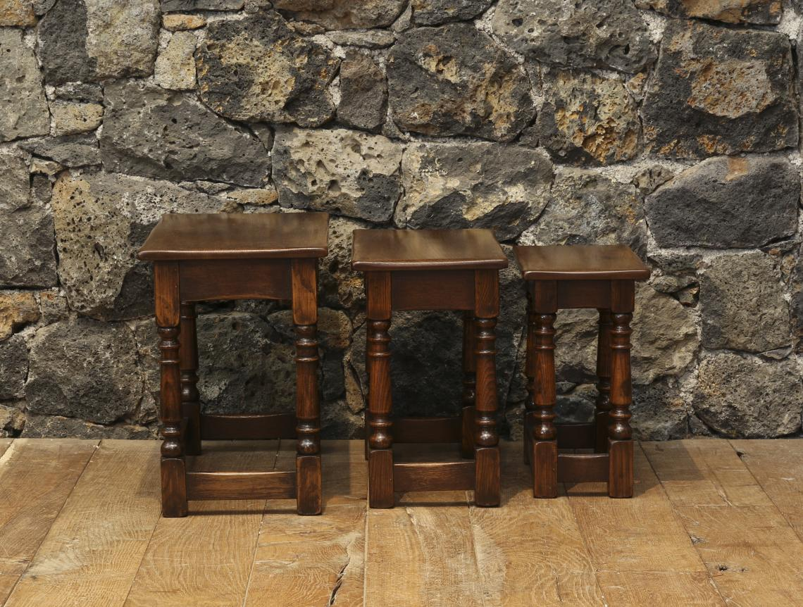 English Oak Nest of Three Tables with Turned Legs