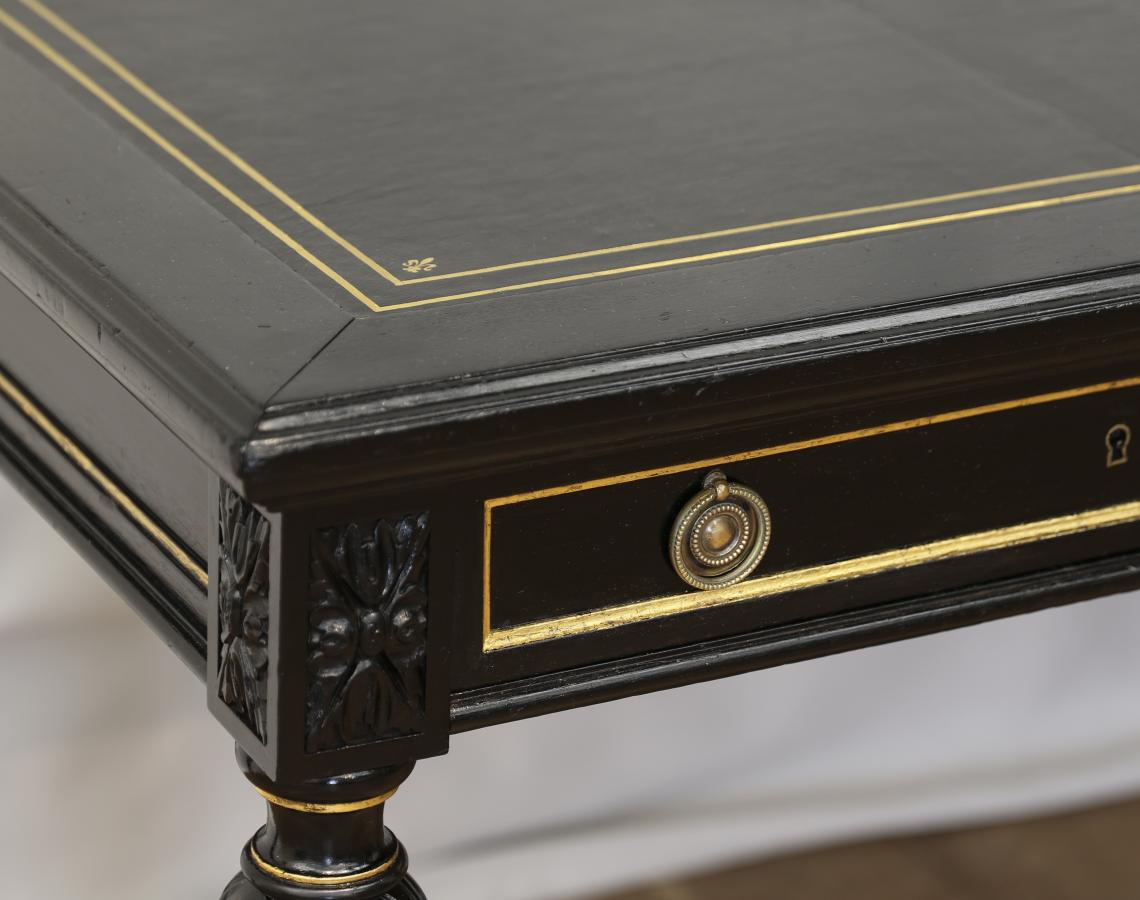 French Black and Gold Bureau Plat