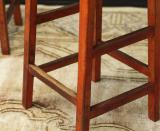 Pair of Red Wooden Stools