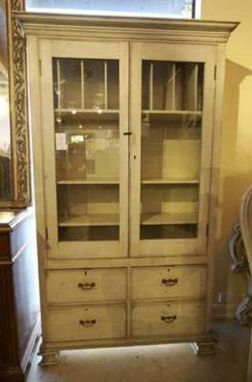 66-44 - Painted French Glazed Cupboard