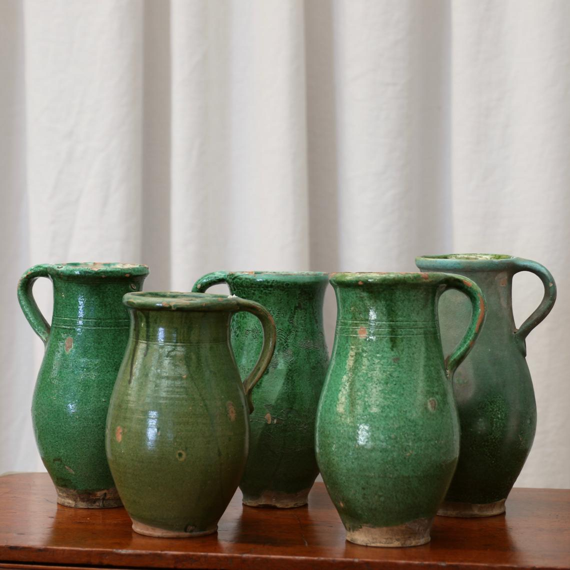 French Green Faience Jugs