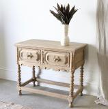 Bleached Two Drawer Side Table