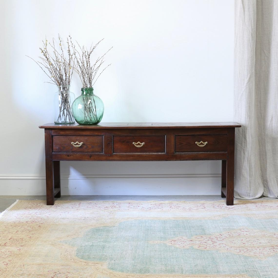 French Chestnut Three-Drawer Side Table