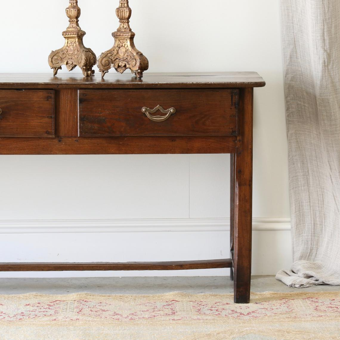 French Chestnut Three Drawer Side Table