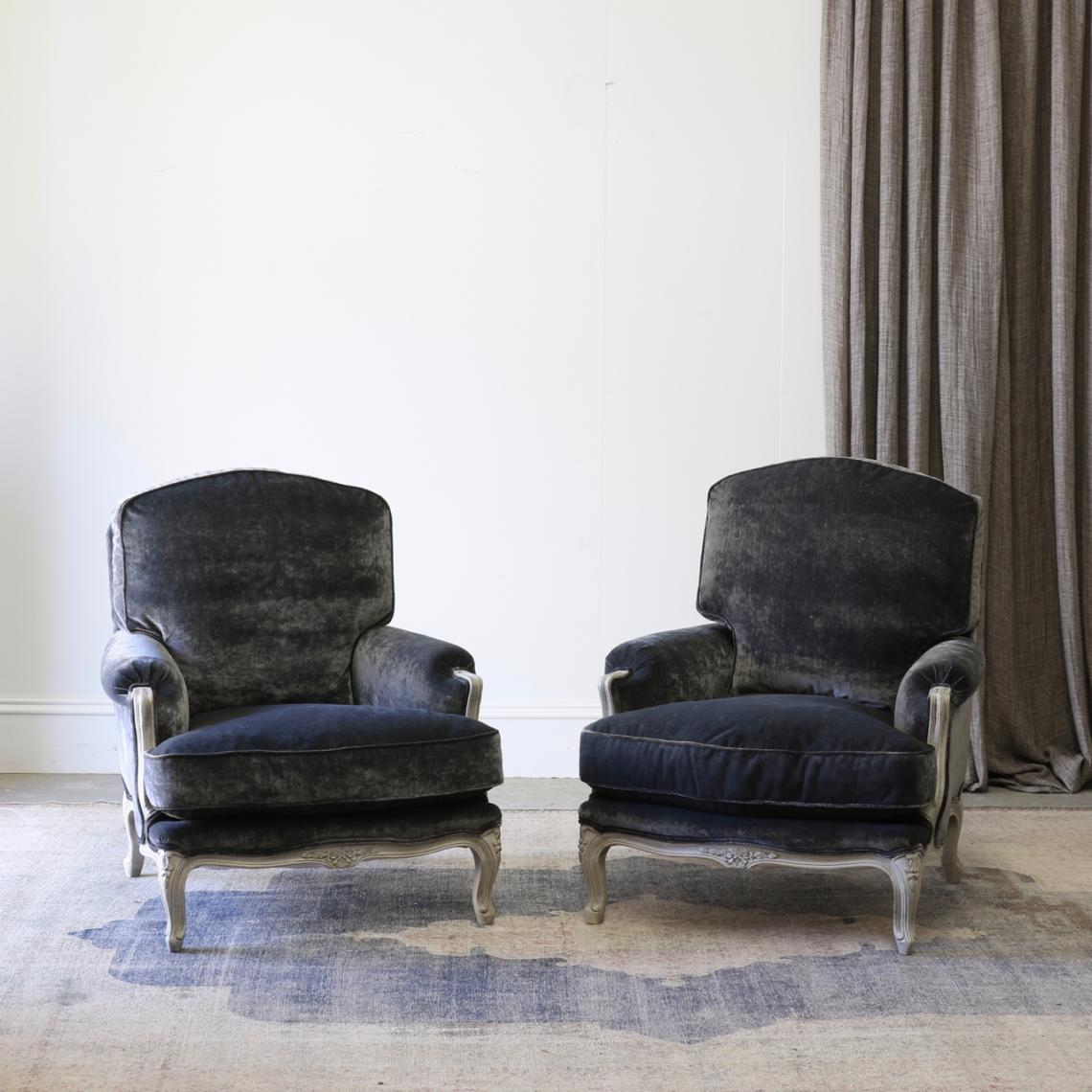 114-57 - Pair of Velvet Armchairs