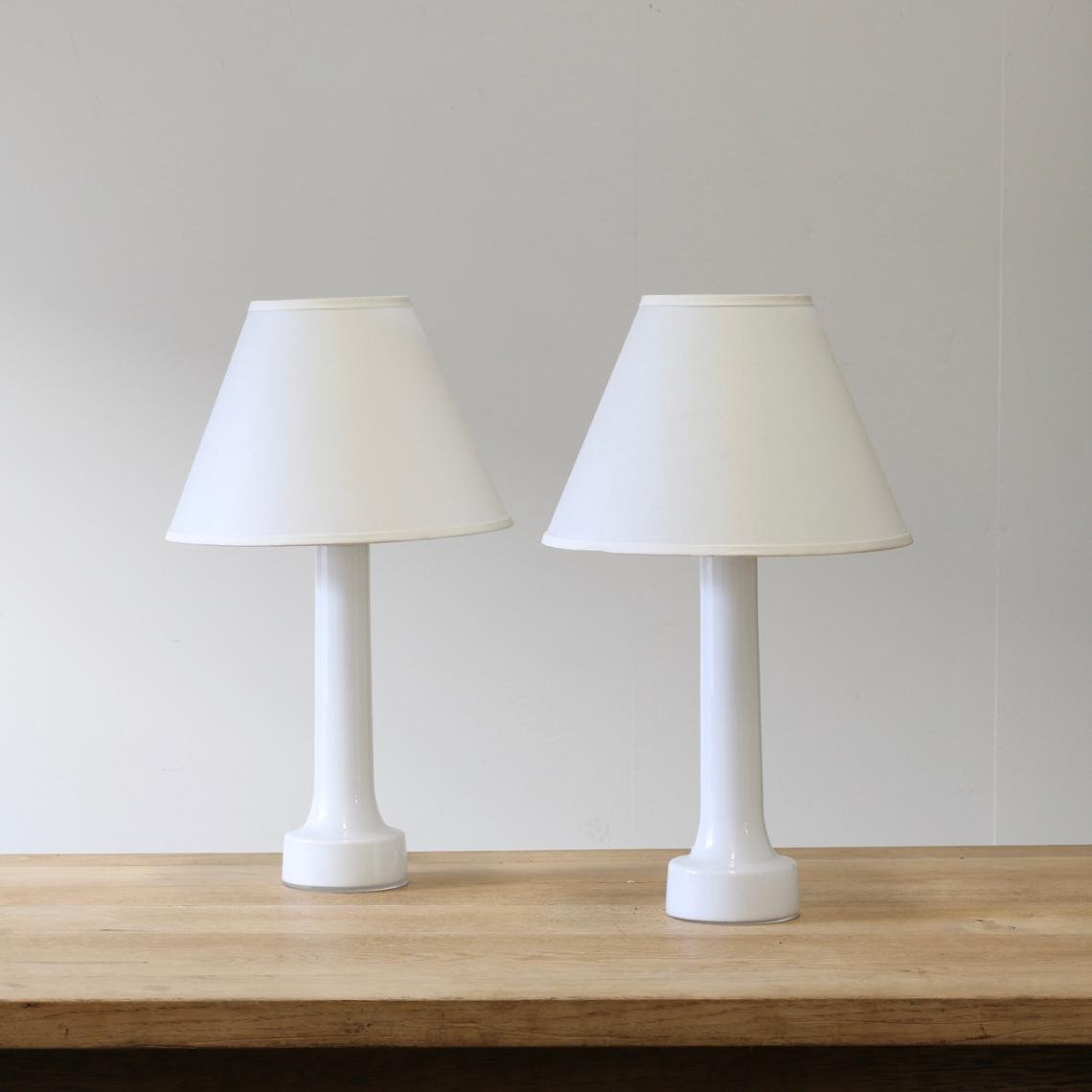 Pair of Mid-Century Glass Lamps