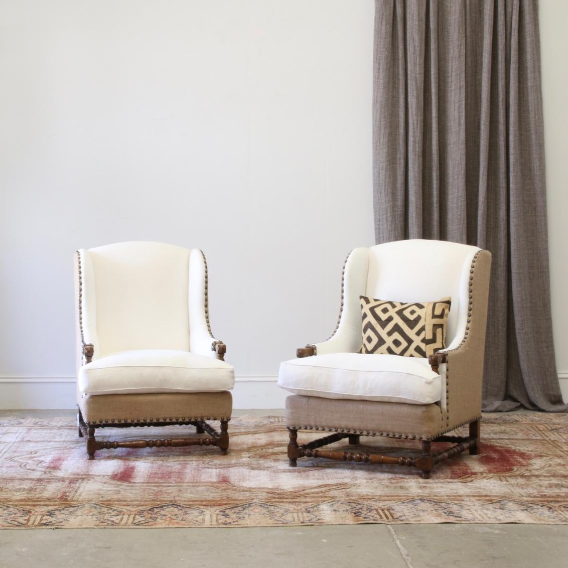 118-48 - Pair of Bobbin Legged Armchairs