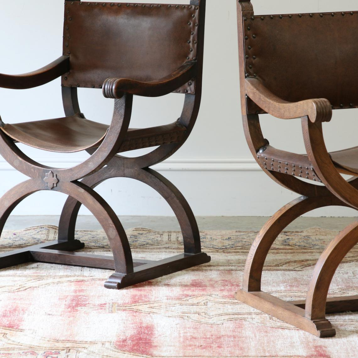 Pair of Leather Director Chairs