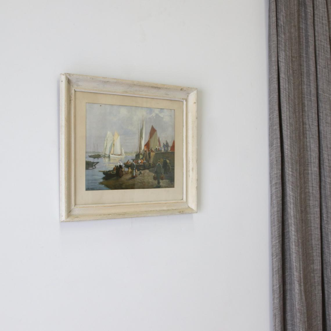 118-96 - Wharf Scene Painting With White-Washed Frame