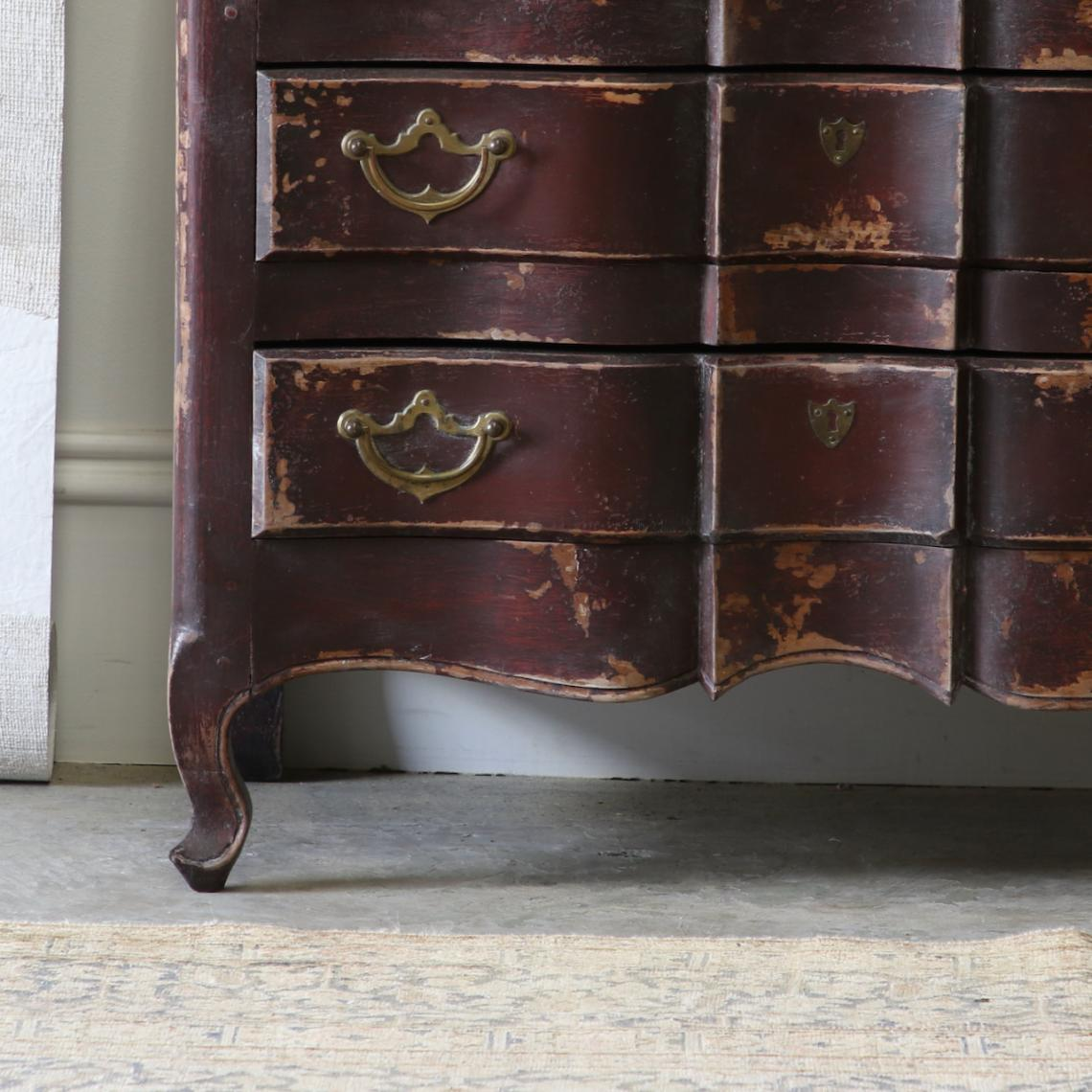 Oxblood Red Serpentine Commode