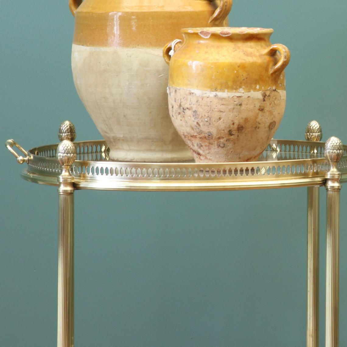 Round Brass Tea Trolley
