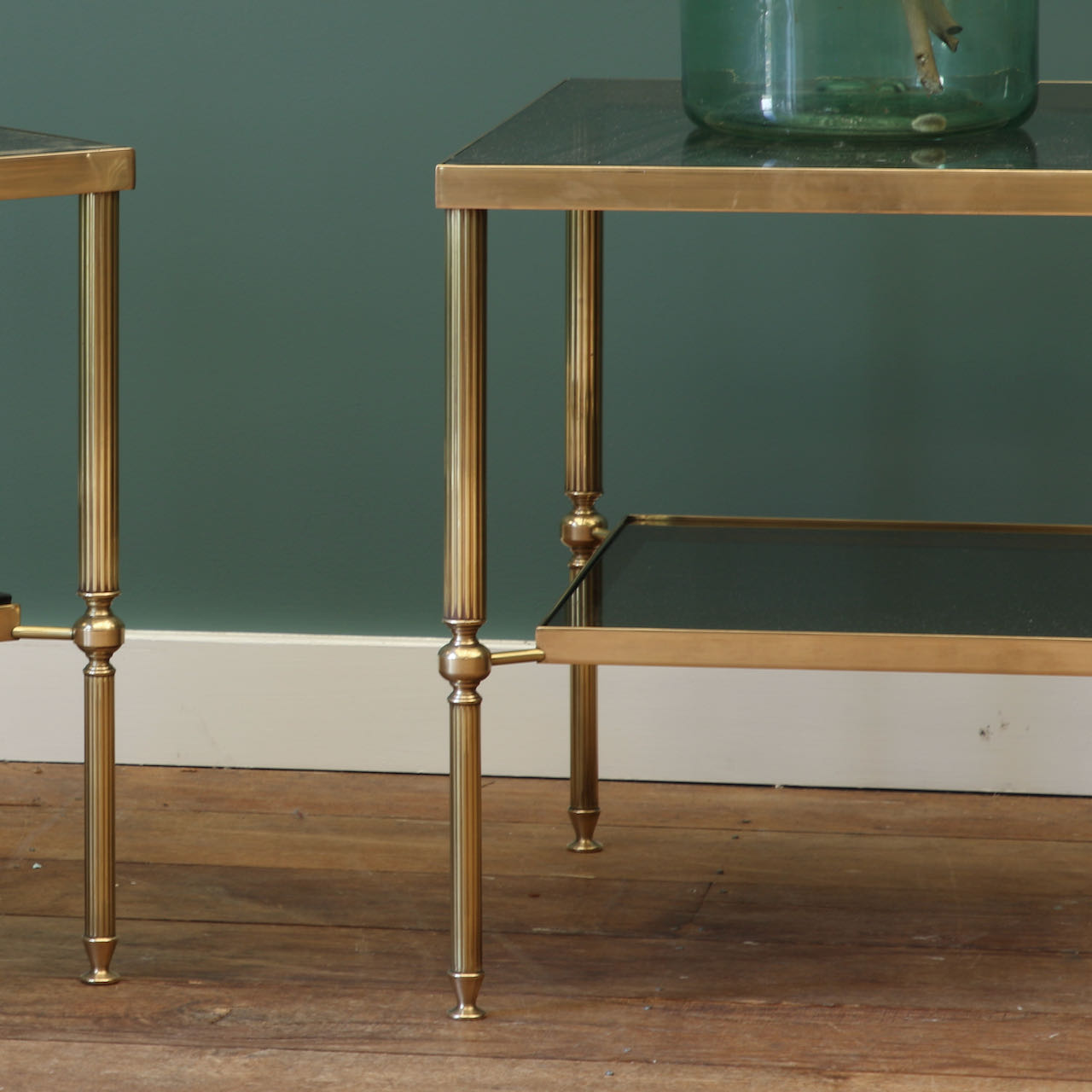Pair of Glass and Brass Side Tables