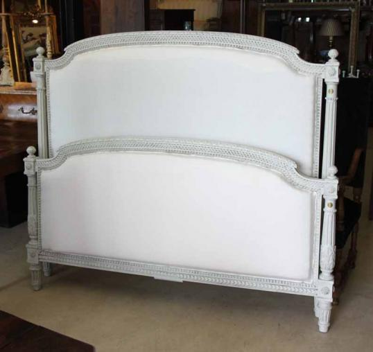 King Upholstered Antique Bed