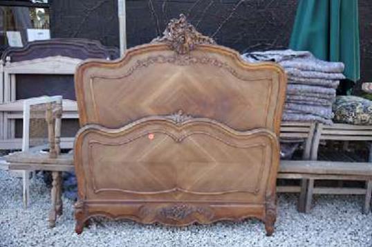 Antique French Bed with Elaborate Crest