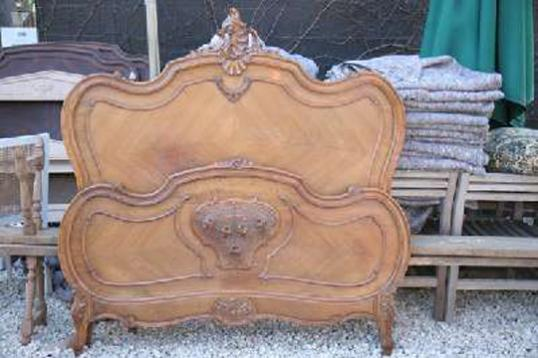 French Bed with Elaborate Tailboard
